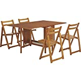 Kotula's 5-Piece Space-Saving Dining Set - Table and 4 Chairs, Oak Finish