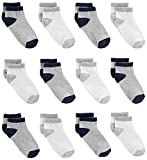 Simple Joys by Carter's Baby Boys' 12-Pack Sock Ankle, Gray, White, 12-24 Months