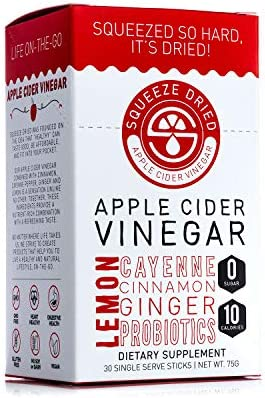 Squeeze Dried Apple Cider Vinegar: Inflammation, Digestion, Natural Detox, Bloating, Circulation with Probiotics - 30 Count Sticks 1