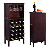 Product review for New Wood Wine Cabinet Bottle Holder Storage Kitchen Home Bar w/ Glass Rack
