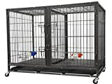 Go Pet Club NY-44 44' Heavy Duty Stackable Cat/Dog Crate with Divider and Water Bowls
