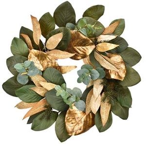 Cloris-Art-Christmas-Wreath-Artificial-Eucalyptus-Magnolia-Leaves-22-24-Inch-Green-Gold-Front-Door-Wreaths-for-Home-Farmhouse-Holiday-Party-Table-Wall-Decor