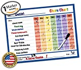 "Dry Erase Reward Chore Chart - 14.5"" x 11"" - Kids Classroom & Home Teaching Resource - Teach Children Routine Behavior & Responsibility - Reusable Teacher Star Child Toddler Incentive Charts (Blue)"