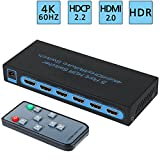 4K@60Hz HDMI Switch 5x1,FiveHome 5 Port HDMI Switcher with IR Wireless Remote Support Auto Switch, HDCP 2.2,HDR,Full HD/3D