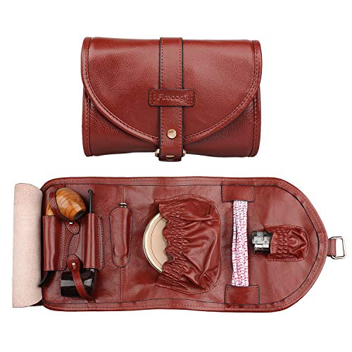 Handmade Genuine Leather Smoking Tobacco Pipe Pouch Bag Organize Case Pipe Tool Lighter Holder Pocket for 2 Pipe