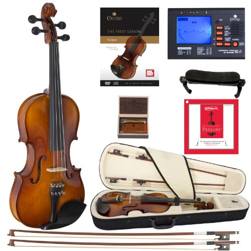 Cecilio CVN-320L Solidwood Ebony Fitted Left-Handed Violin with D'Addario Prelude Strings, Size 4/4 (Full Size)