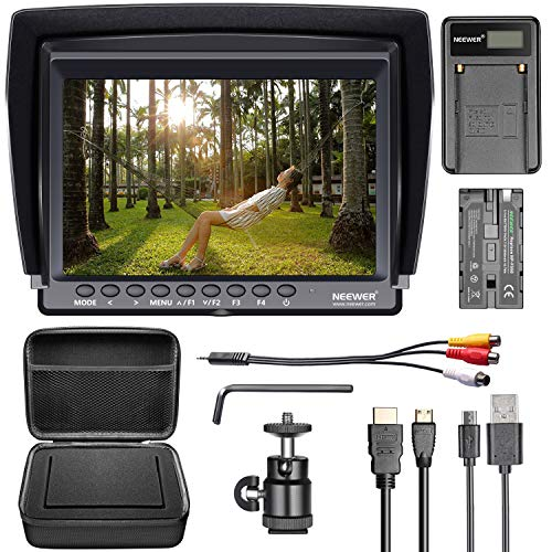 Neewer-F100-Camera-Field-Monitor-Kit7-inches-Ultra-HD-1280x800-IPS-Screen-Field-MonitorF550-Replacement-BatteryMicro-USB-Battery-ChargerCarrying-Case-for-Sony-Canon-Nikon-Olympus-Pentax-Panasonic
