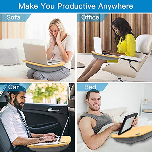 """51cN7i1GkCL - HUANUO Laptop Stand with Cushion on Bed & Sofa, as Book Stand/Sleeping Pillow/Lap Desk with Cable Hole & Anti-Slip Strip, Fit up to 15.6"""" Notebook"""