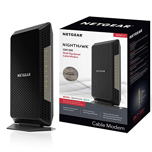 NETGEAR Nighthawk Cable Modem CM1200 - Compatible with All Cable Providers Including Xfinity by Comcast, Spectrum, Cox | for Cable Plans Up to 2 Gigabits | 4 x 1G Ethernet Ports | DOCSIS 3.1