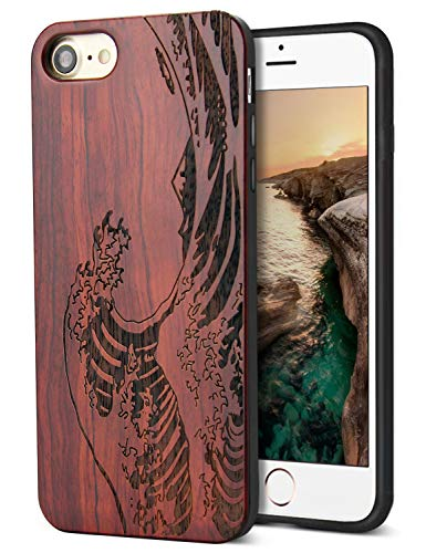 Compatible for Cool iPhone 7 Case, iPhone 8 Wood Case with Real Unique Wood Carving Wave Design with Silicone Dual layer Hybrid Protective Case for iPhone 7/ 8