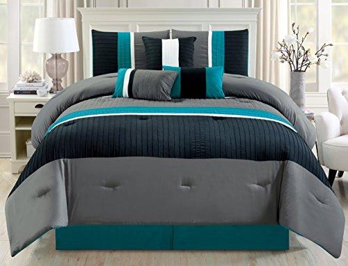 modern pin tuck stripe bedding comforter set twin full queen king california cal king. Black Bedroom Furniture Sets. Home Design Ideas