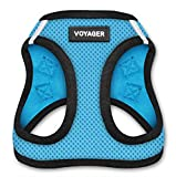 BPS Voyager - All Weather No Pull Step-in Mesh Dog Harness with Padded Vest for Puppy and Cats - Baby Blue Base, Medium