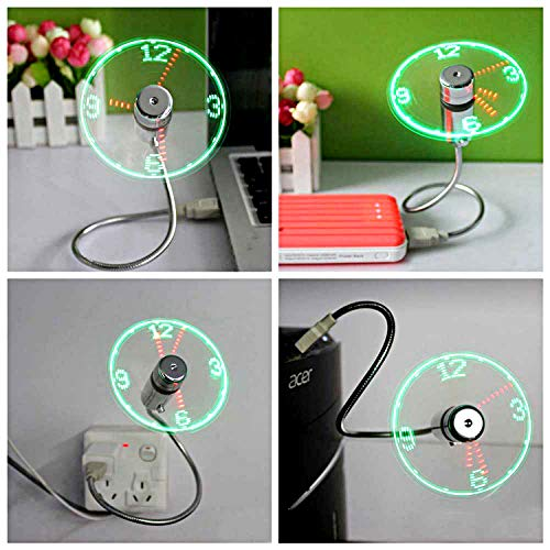 USB LED Clock Fan with Real Time Display, Coming Events
