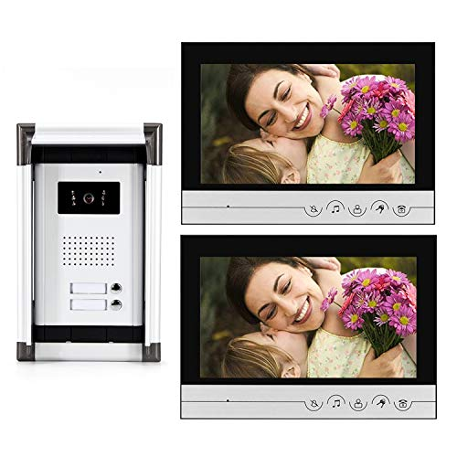 Video-Intercom-System-9-inches-Wired-Video-Doorbell-Phone-System-Kit-with1-Night-Vision-Camera-and-2-Monitor-Support-Monitoring-Unlock-Dual-Way-Intercom-for-2-Unit-Apartment