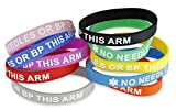 Forge 10-Pack No Needles Or Blood Pressure Medical Identification Bracelet Assorted Colors (10 Pack)