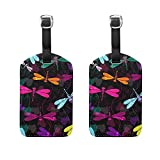 Set of 2 Luggage Tags Colorful Dragonfly Suitcase Labels Travel Accessories