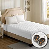 Beautyrest - Cotton Blend Heated Mattress Pad Cal King Size -Secure Comfort Technology - Luxury Quilted Electric Mattress Pad with Deep Pocket -White- Two 5-Setting Heat Controllers - 5 Years Warranty