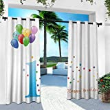 Hengshu 1st Birthday, Outdoor Privacy Porch Curtains,Kids Party Theme One with Abstract and Colorful Stars and Balloons Artwork, W84 x L108 Inch, Multicolor