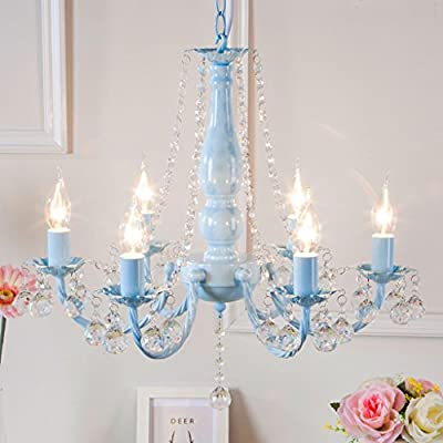 Lofami Luxury Elegant Crystal Chandelier Kids Room 6 Light Pendant Light Tie Living Room Restaurant Hotel Decorative Chandelier E14 Color Blue