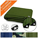 Heavy Duty Tarps | Waterproof Ground Tent Trailer Cover | Multilayered Tarpaulin in Many Sizes and Thicknesses | 6 Mil - Green - 10' x 18'