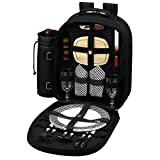 Picnic at Ascot - Deluxe Equipped 2 Person Picnic Backpack with Cooler & Insulated Wine Holder - Black