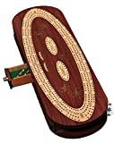Palm Royal Handicrafts - 4 Track Continuous Cribbage Board . Inlaid in Maple / Rose Wood and Side Slider - 4 Tracks Continuous Cribbage - Oval Cribbage