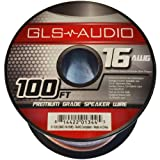 GLS Audio Premium 16 Gauge 100 Feet Speaker Wire - True 16AWG Speaker Cable 100ft Clear Jacket - High Quality 100' Spool Roll 16G 16/2 Bulk