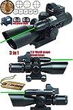 Ledsniper 3 in 1 Combo 2.5-10x40 Tactical Rifle Scope w/ green Laser & Mini Reflex 3 MOA Red&green Dot Sight