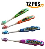 Premium Dental Oral Hygiene Soft Bristle Toothbrush, Assorted Color, Individual Wrapped - Box of 72 Pcs | CE Certified (ISO 9001) (Children)