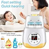 Wrea Baby Bottle Warmer Bottle Sterilizer 5 in 1 Smart Bottle Warmer Deluxe Baby Food Heater for Breast Milk Formula with LED Real Time Display Evenly Warming Timer Accurate Baby Shower Gift (No.1)