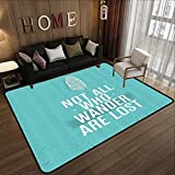 All Weather Floor mats,Adventure,Not All Who Wander are Lost Words of Wisdom Boho Chic Feather Grunge Look,Turquoise White 35'x 59' Multi-USE Floor MAT