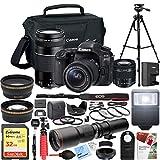Canon EOS 80D Digital SLR Camera with EF-S 18-55mm f/3.5-5.6 + EF 75-300mm f/4-5.6 III Dual Lens Kit + 500mm Preset f/8 Telephoto Lens + 0.43x Wide Angle, 2.2X Pro Bundle