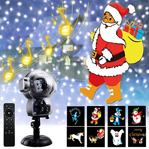 Christmas Projector Lights Outdoor Snowfall Animation Music Projection Lamp Waterproof Remote Control Holiday Projector Indoor Party Birthday Wedding Holiday Decorations