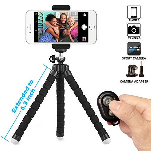 Phone Tripod, Camera Tripod, Gopro Tripod, SIX-QU Extended Version Universal Octopus flexible Tripod Pro Stand Holder with Bluetooth Wireless Remote Shutter for CellPhone,Camera Gopro