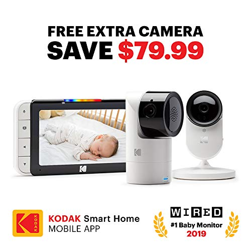 KODAK Cherish C525 Video Baby Monitor + C120 Additional Camera - with Mobile App - 5' HD Screen - Hi-res Baby Camera with Remote Tilt, Pan and Zoom Two-Way Audio, Night-Vision, Long Range
