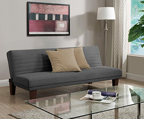 DHP Dillan Convertible Futon Couch Bed with Microfiber Upholstery and Wood Legs - Tan