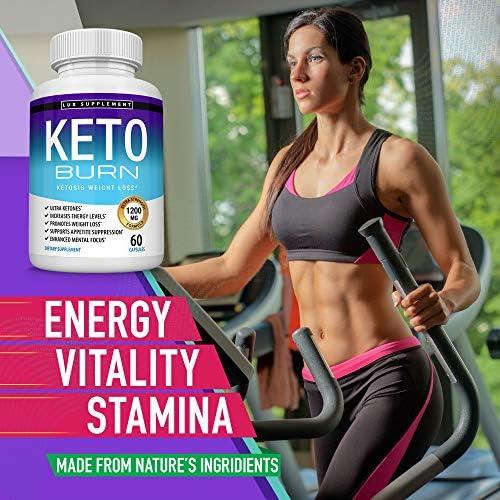 Keto Burn Pills Ketosis Weight Loss - 1200 Mg Ultra Advanced Natural Ketogenic Fat Burner Using Ketone Diet, Boost Energy Focus & Metabolism Appetite Suppressant, Men Women 60 Capsules, Lux Supplement 7