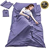 Double Cotton Sleeping Bag Liner,Travel and Camping Sheet Sleep Sack Lightweight Warm Roomy for Camping, Travel, Youth Hostels, Picnic 63 x 82.7inch,Grey Blue