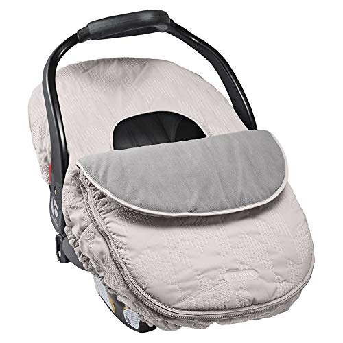 JJ Cole - Car Seat Cover, Weather Resistant Blanket-Style Canopy Designed to Protect from The Cold & Winter Weather, Grey Herringbone, Birth & Up
