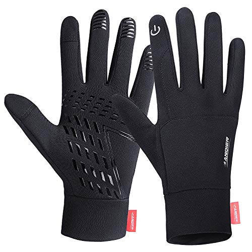 Lanyi Running Gloves Lightweight Cycling Sports Work Black Gloves Men Women Windproof Anti-Slip Touchscreen Compression Liner Gloves(XL)