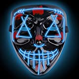 Halloween Scary Mask Costume Mask EL Wire Light up LED Mask for Halloween Cosplay Festival Party Fit Adults, Kids, Blue