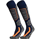 WEIERYA Ski Socks, Warm Knee High Performance Skiing Socks, Snowboard Socks (Navy blue 2 Pairs, Small)