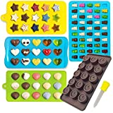 Candy Molds & Silicone Chocolate Mold | Jello & Ice Cube Trays | Set of 4 | Non Stick & BPA Free | Hearts, Stars, Shells & Gummy plus 1 dropper - by Lucentee
