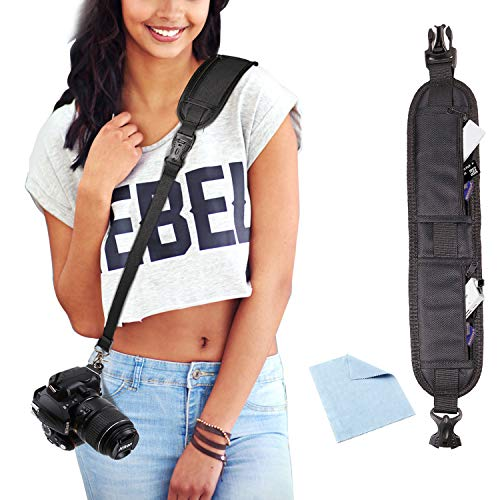 Estpeak Photo Rapid Fire Camera Neck Strap w/Quick Release Plate Sling Strap Professional Photographers Safety Tether Camera Shoulder Strap for Canon Nikon Sony Digital DSLR Camera Strap
