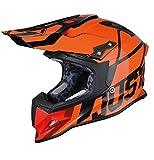 Just 1 Unisex-Adult Off Road Carbon Fiber Shell Motorcross Motorcycle Helmet (J12 Unit) (Gloss Black Trans Orange Fluo, Large)