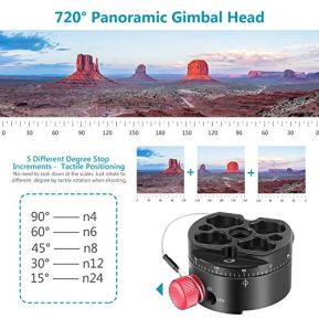 Neewer-Gimbal-Head-Panoramic-Head-Camera-Tripod-Head-Aluminium-Alloy-with-Standard-14-inch-Quick-Release-Plate-and-Carry-Bag-Max-Load-22-Pounds-Compatible-with-Nikon-Canon-Sony-DSLRs