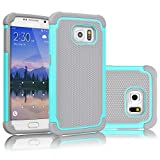Tekcoo for Galaxy S6 Case, [Tmajor Series] [Turquoise/Grey] Shock Absorbing Hybrid Rubber Plastic Impact Defender Rugged Slim Hard Case Cover Shell for Samsung Galaxy S6 S VI G9200 GS6 All Carriers