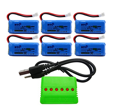 Btg 500mah 3 7v upgrade battery x6 charger for f180c for Hubsan x4 h107l motor upgrade