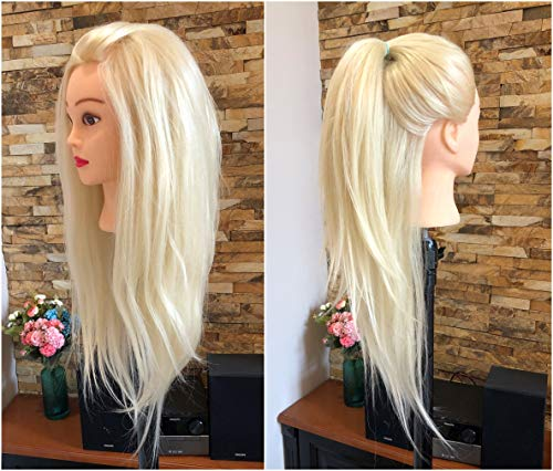 Professional Long Soft Real Human Hair Hairdressing Equipment Styling Head Doll Mannequin Training Head Tools Braid Cutting Student Practice Model Clamp Female Male (40% Human hair- Platinum blonde)