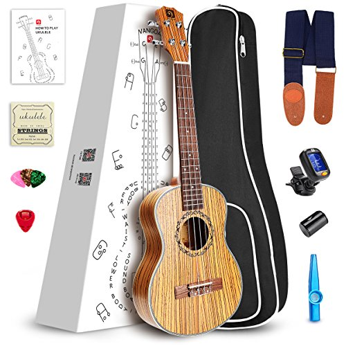 Vangoa UK-26Z Tenor 26 inches Acoustic Ukulele in Zebrawood with Nylon Strap, Kazoo, Pick, Pick Container, Carry Bag, Tuner, Backup Strings, Finger Shaker